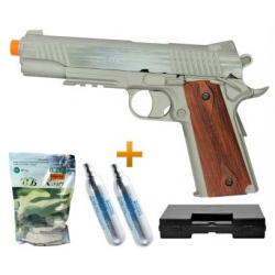 Pistola de Airsoft CO2 Colt 1911 Rail Gun Inox Slide Metal Cal 6.0 + Case + BBs + Co2